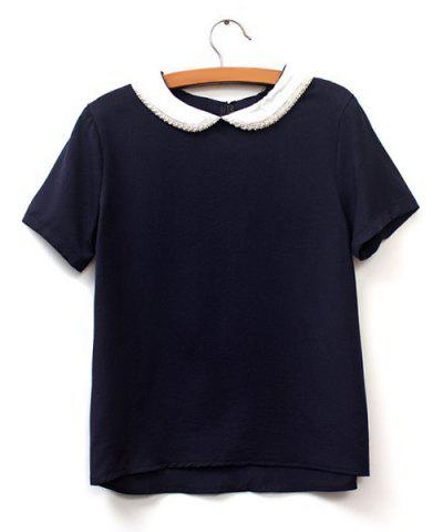Shop Preppy Style Peter Pan Collar Short Sleeve Beaded Color Block Women's Blouse