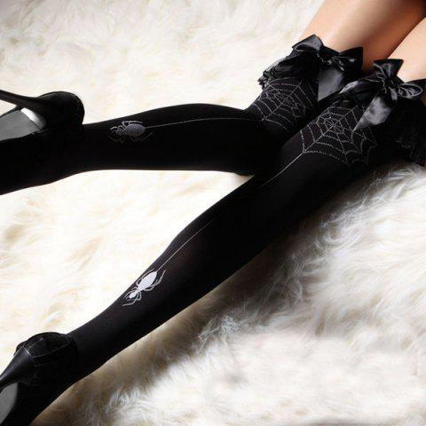 New Slimming Bow Tie Embellished Color Block Women's Stockings