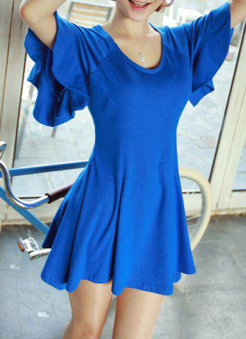 Best Simple Style Scoop Neck Butterfly Sleeve Solid Color Cotton A-Line Women's Dress