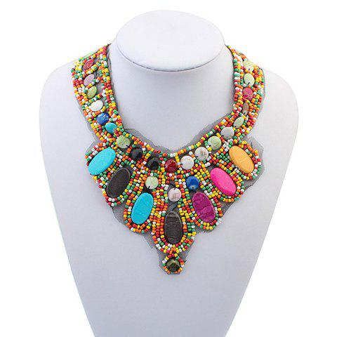 Unique Bohemia Colored Beads Detachable Collar Sweater Chain Necklace For Women COLORFUL