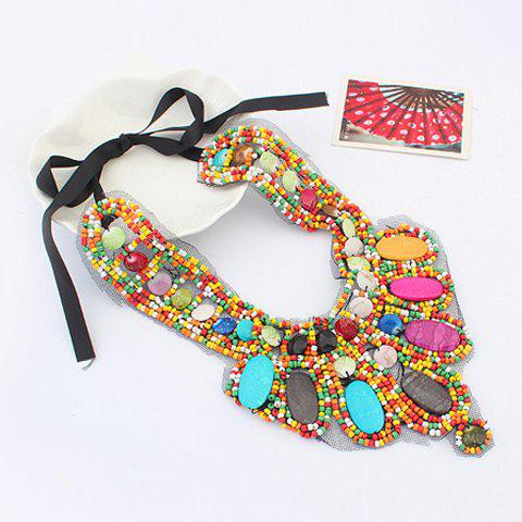 Sale Bohemia Colored Beads Detachable Collar Sweater Chain Necklace For Women - COLORFUL  Mobile