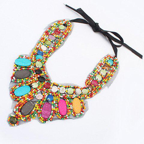 Fashion Bohemia Colored Beads Detachable Collar Sweater Chain Necklace For Women - COLORFUL  Mobile