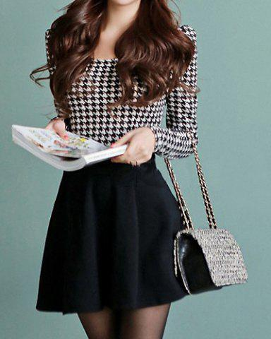 Online Cute Scoop Neck Long Sleeve Houndstooth Ruffle Dress For Women