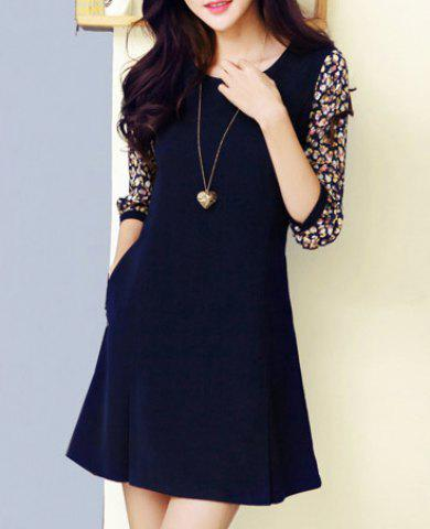 Chic Style Round Collar Ruffled Tiny Floral Print 3/4 Sleeves Women's Dress - AS THE PICTURE M