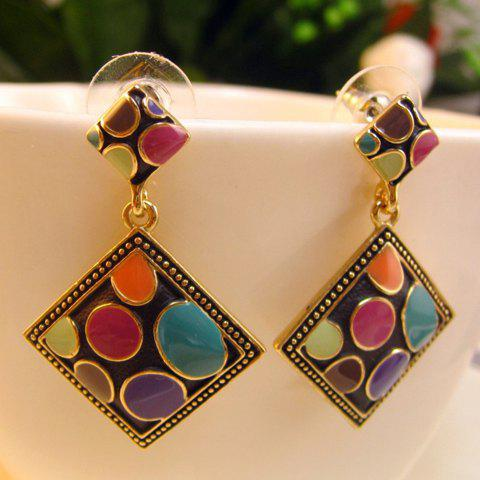 Chic Pair of Retro Multicolored Glazed Diamond Shape Pendant Earrings For Women