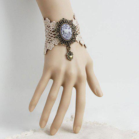 Best Retro Lace Flower Pattern Heart Pendant Bracelet - AS THE PICTURE  Mobile