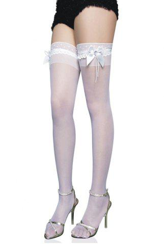 Latest Sexy Bow Tie Embellished Translucent Solid Color Women's Silk Stockings - ONE SIZE WHITE Mobile