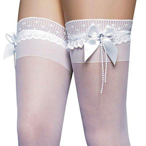 Outfits Sexy Bow Tie Embellished Translucent Solid Color Women's Silk Stockings - ONE SIZE WHITE Mobile