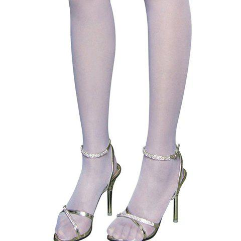 Unique Sexy Bow Tie Embellished Translucent Solid Color Women's Silk Stockings - ONE SIZE WHITE Mobile