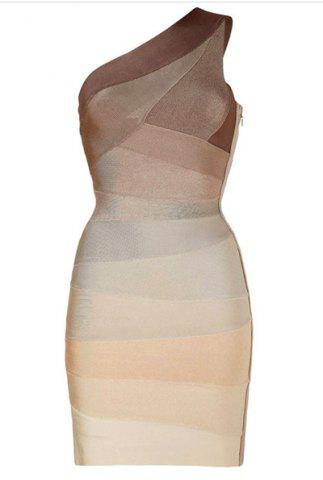 Best Personalized Inclined Shoulder Backless Packet Buttock Women's Bandage Dress