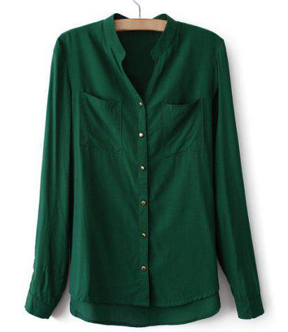 Casual V-Neck Solid Color Long Sleeve Loose-Fitting Bouse Women