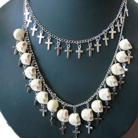 Buy Punk Double-Layered Skull and Cross Shape Pendant Necklace For Women
