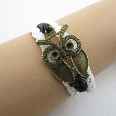 Shop Vintage Night Owl Multilayered Faux Leather Bracelet WHITE