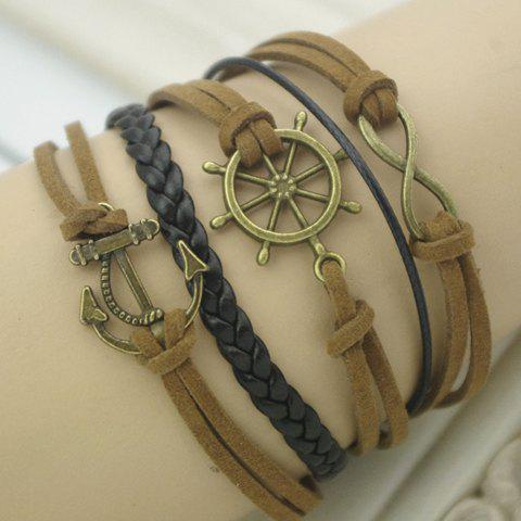 Unique Vintage Helm Anchor Infinity Embellished Friendship Bracelet