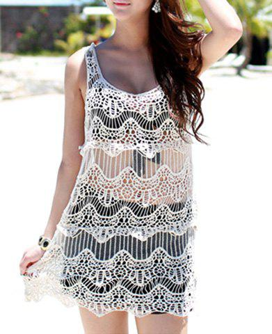 Shop Vintage Scoop Neck Hollow Out See-through Sleeveless Women's ress