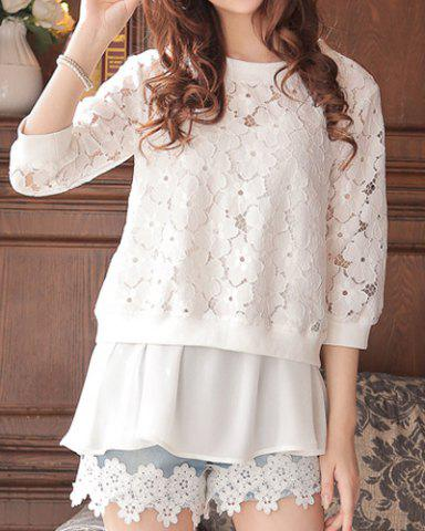 Chic Cute Round Neck 3/4 Sleeve Solid Color Crochet Flower Lace Women's Twinset