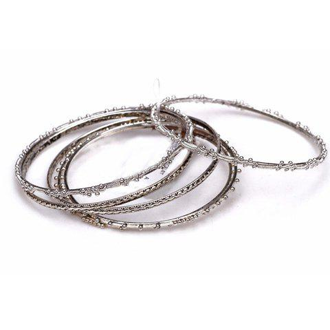 Shops 5 PCS Vintage Silver Plated Round Charm Bracelets - AS THE PICTURE  Mobile