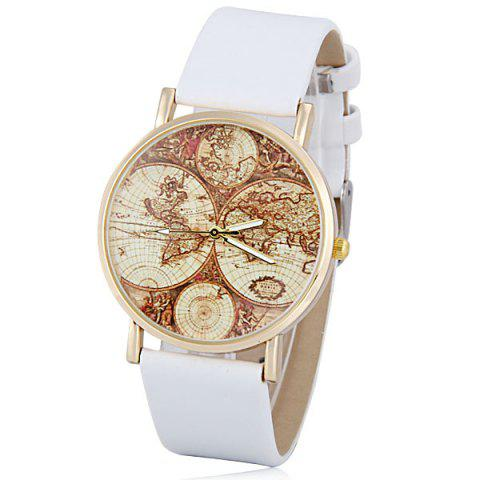 Hot Stylish Quartz Watch with Map Analog Indicate Leather Watch Band for Women