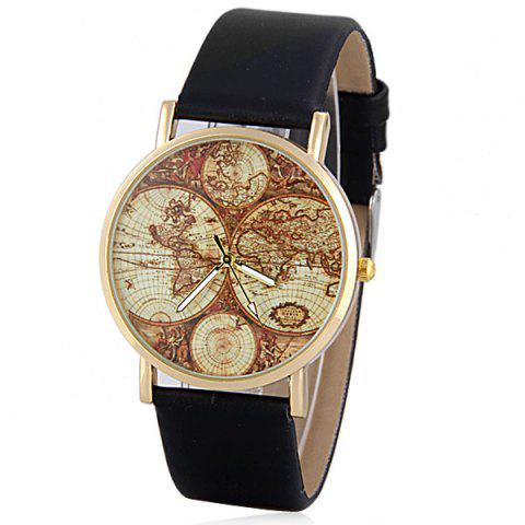 Chic Stylish Quartz Watch with Map Analog Indicate Leather Watch Band for Women BLACK