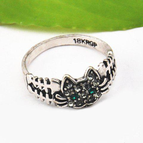 Buy Cute Solid Color Rhinestone Inlaid Cat Ring For Women - ONE SIZE SILVER Mobile