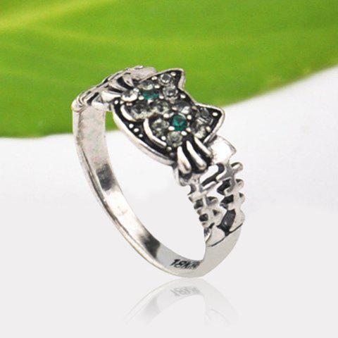 Store Cute Solid Color Rhinestone Inlaid Cat Ring For Women - ONE SIZE SILVER Mobile