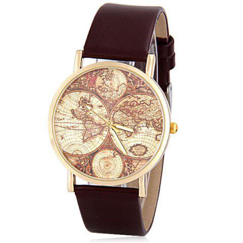 Stylish Quartz Watch with Map Analog Indicate Leather Watch Band for Women - BROWN