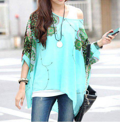 Stylish Scoop Neck Batwing Sleeve Printed Loose-Fitting Chiffon Blouse For Women