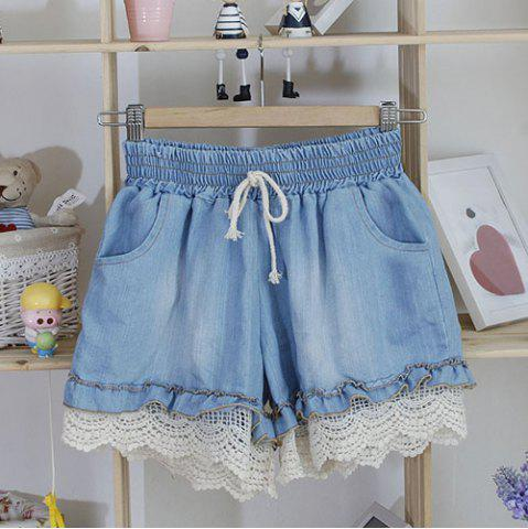 Sale Splicing Stringy Selvedge Drawstring Scalloped Denim Shorts
