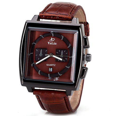 Shops Popular Quartz Watch with Date Analog Indicate Leather Watchband for Men BROWN