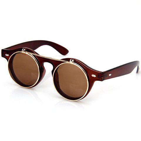 Latest Double Layer Flip Lens Design Sunglasses with Brown Frame - BROWN  Mobile