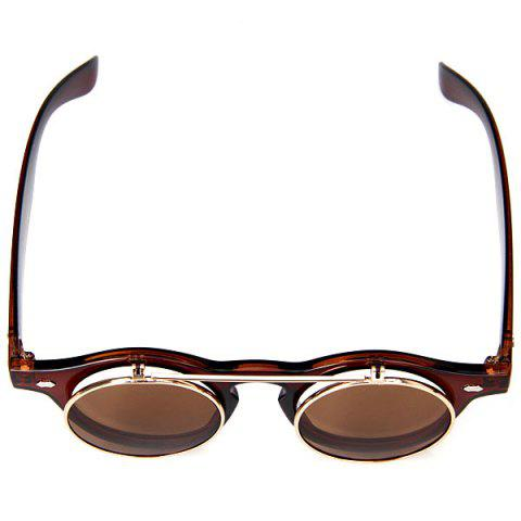 Cheap Double Layer Flip Lens Design Sunglasses with Brown Frame - BROWN  Mobile