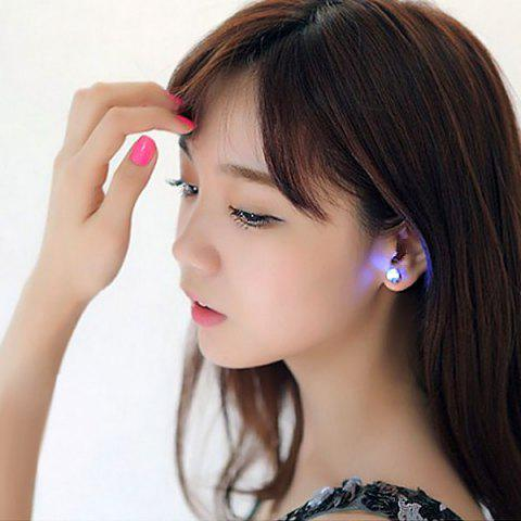 Sale Fashion and Sweet Zirconium Drill Flashing LED Earrings for Women - BLUE  Mobile