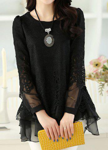Store Long Sleeve Lace Embellished Solid Color Skirt Hem Women's T-shirt