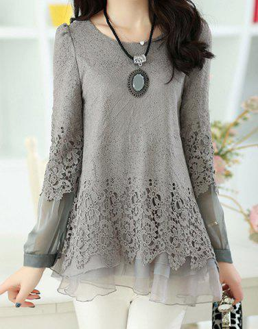 Buy Long Sleeve Lace Embellished Solid Color Skirt Hem Women's T-shirt - L GRAY Mobile