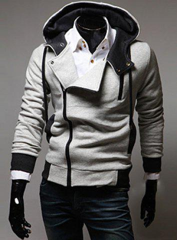 Outfit Street Style Side Zipper Studs Long Sleeves Men's  Polyester Hoodies LIGHT GRAY M