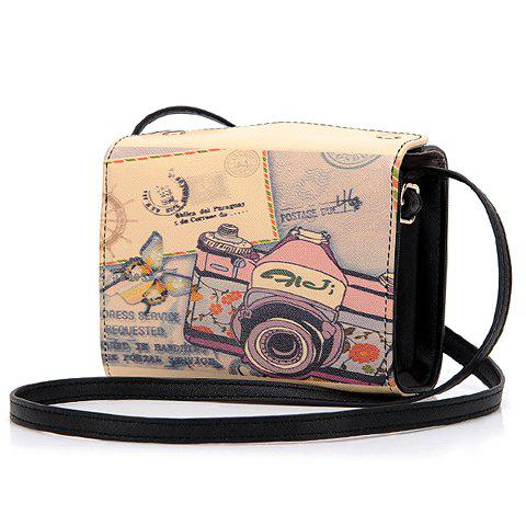 Latest Sweet Camera Print and PU Leather Design Women's Crossbody Bag