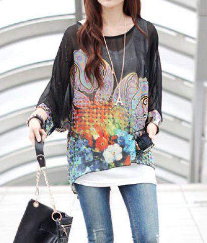 Stylish Scoop Neck Batwing Sleeve Printed Chiffon Black Blouse For Women