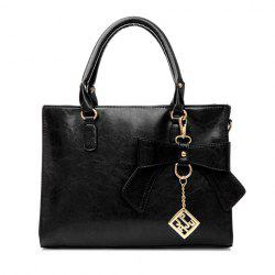 Elegant Bow and Metal Pendant Design Women's Tote Bag - BLACK