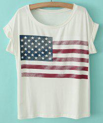 Star Print Stripe Short Sleeve Casual Style Scoop Neck Cotton Women's T-shirt -
