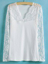 Lace Splicing Solid Color V-Neck Long Sleeve Ladylike Style Slimming Women's Blouse - WHITE S
