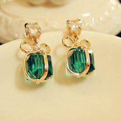 Pair of Bowknot Present Shape Rhinestone Pendant Earrings