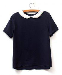 Preppy Style Peter Pan Collar Short Sleeve Beaded Color Block Women's Blouse