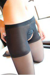 See-Through Sexy Style Cut Out Slimming Women's Pantyhose - BLACK