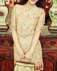 Retro Style Scoop Neck Gold Thread Floral Embroidered Solid Color 1/2 Sleeve Women's Lace Dress -