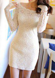 Sexy Style Off The Shoulder 3/4 Sleeve Packet Buttock Lace Women's Dress