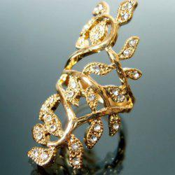 Sweet Rhinestone Leaf Ring -