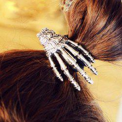 Punk Skeleton Hand Embellished Elastic Hair Band For Women - SILVER