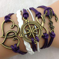 Infinity Heart Anchor Compass Multilayered Charm Bracelet - PURPLE