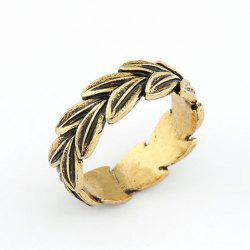 Bohemian Vintage Leaf Embellished Alloy Ring For Women -
