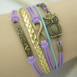 Chic Night Owl and 8 Embellished Purple Wrap Bracelet For Men and Women -